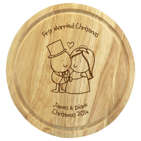 Chilli & Bubble's Married Christmas round chopping board - Shane Todd Gifts UK