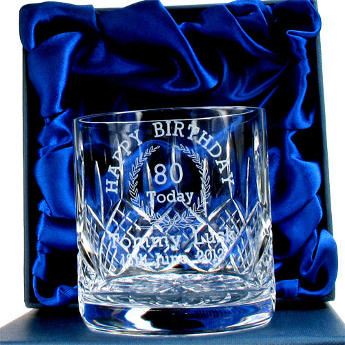 Lead Crystal Engraved 80th Birthday Whisky Glass, Alcoholic Beverages by Low Cost Gifts