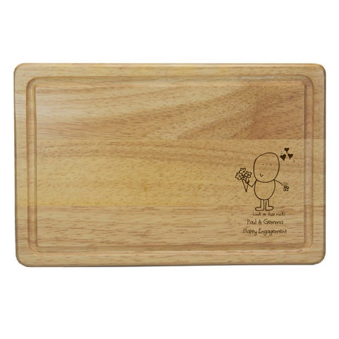 Chilli & Bubble's Engagement Rectangle Wooden Chopping Board