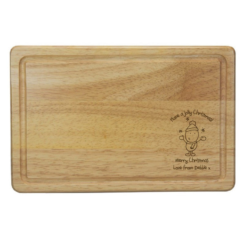 Chilli & Bubble's Jolly Christmas Rectangle Wooden Chopping Board