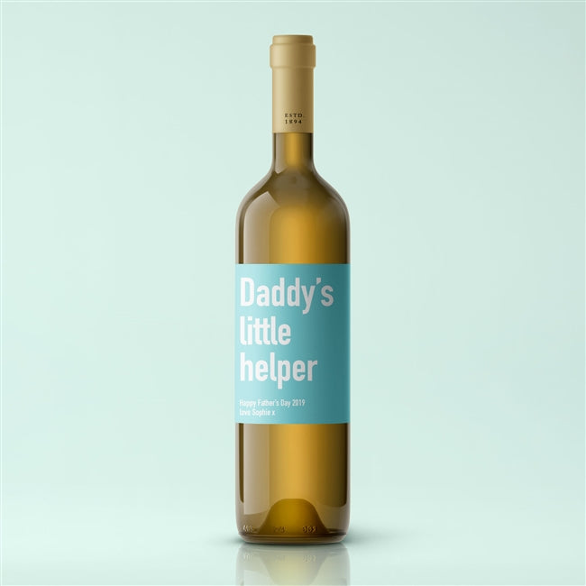 Personalised Daddy's Little Helper Premium White Wine, Beverages by Low Cost Gifts