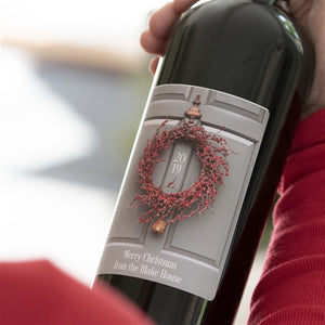 Personalised Wreath Christmas Red Wine