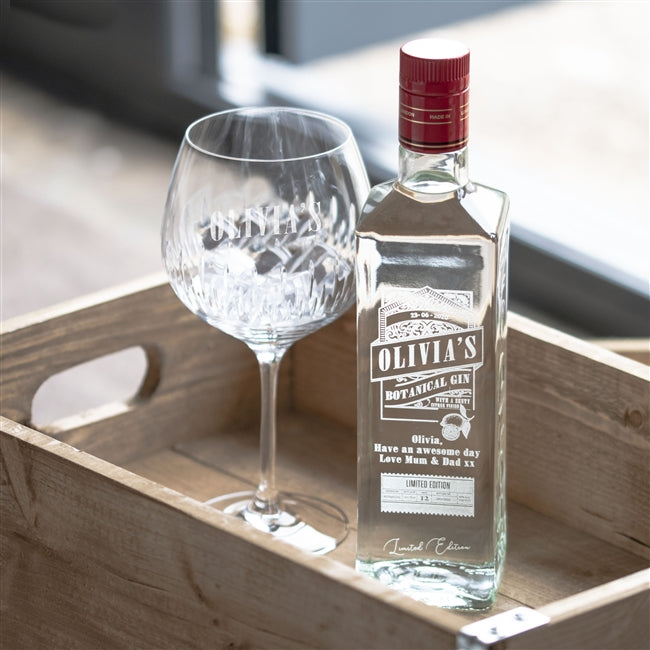 Engraved Gin Bottle, Food, Beverages & Tobacco by Low Cost Gifts