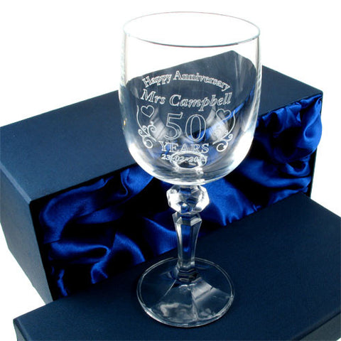 Engraved Wedding Anniversary Crystal Wine Glass for Her