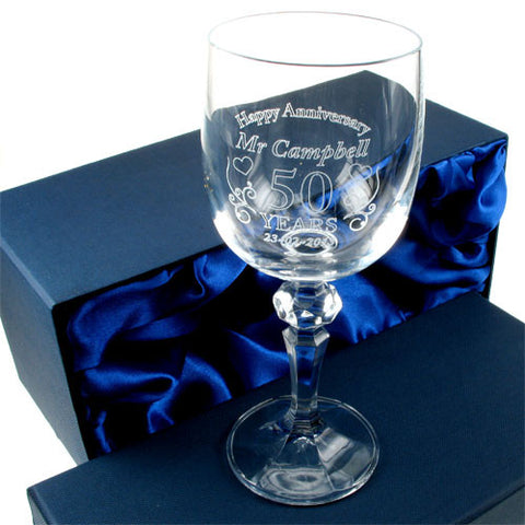 Engraved Wedding Anniversary Crystal Wine Glass for Him