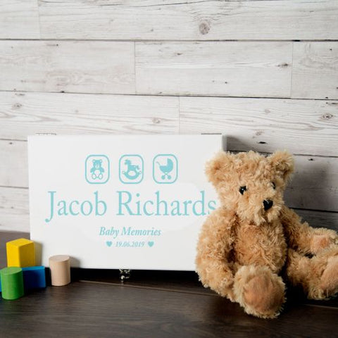 Personalised Blue Baby Boy Memory Box with Teddy, Rocking Horse and Pram