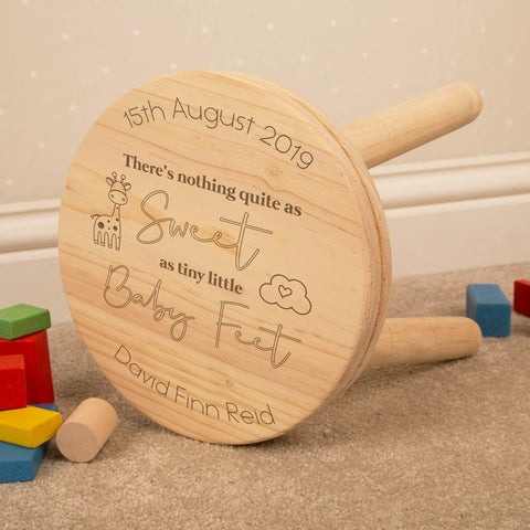 Personalised Baby Feet Wooden Keepsake Stool for Boy or Girl