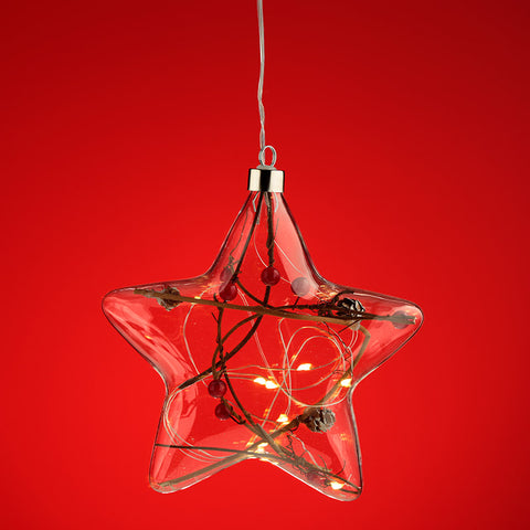 Decorative Hanging LED - Christmas Winter Berries Star Large