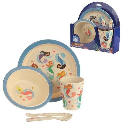 Bambootique Eco Friendly Mermaid Design Kids Dinner Set