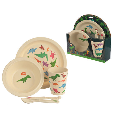 Bambootique Eco Friendly Dinosaur Design Kids Dinner Set