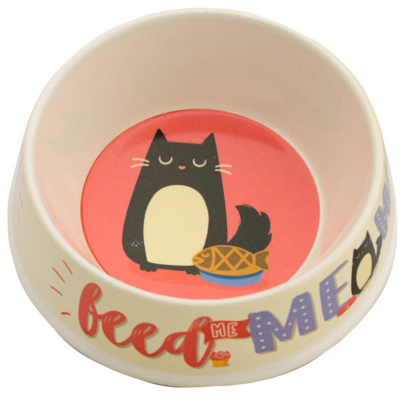 Eco Friendly Bamboo Pet Food Bowl - Feed Meow Feline Fine Cat, Pet Supplies by Low Cost Gifts