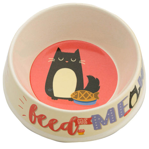 Eco Friendly Bamboo Pet Food Bowl - Feed Meow Feline Fine Cat