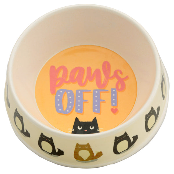 Eco Friendly Bamboo Pet Food Bowl - Paws Off Feline Fine Cat