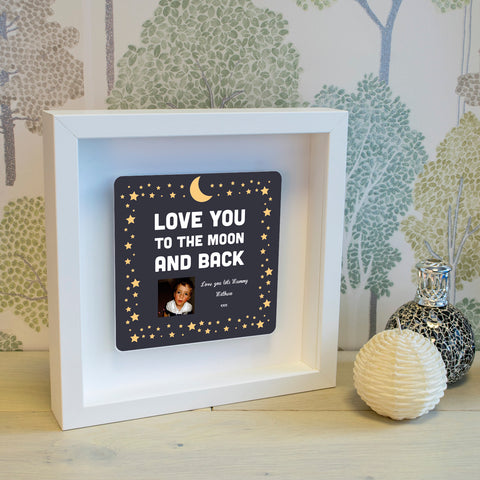 Shadow Frame with 3D Metal Artwork - Love You To The Moon And Back | Gifts24-7.co.uk