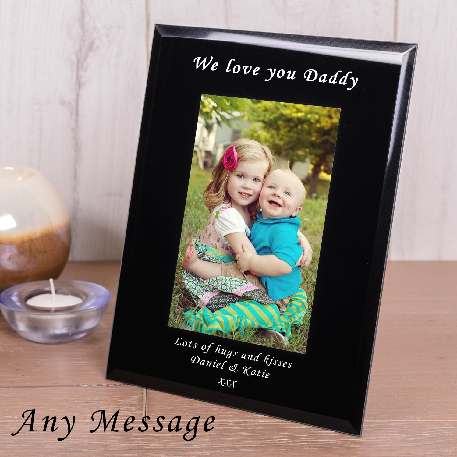 Personalised Any Message Black Glass Frame 6x4