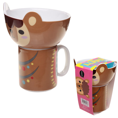 Children's New Bone China Mug and Bowl Set - Cute Llama
