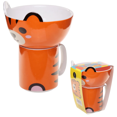 Children's New Bone China Mug and Bowl Set - Cute Tiger