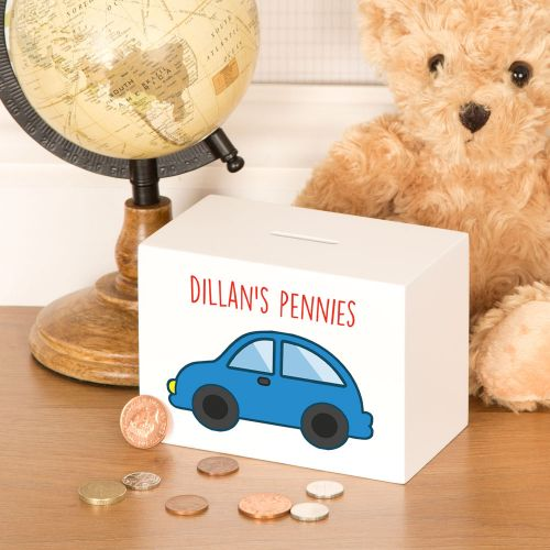 Baby Boy Car Design Personalised Money Box
