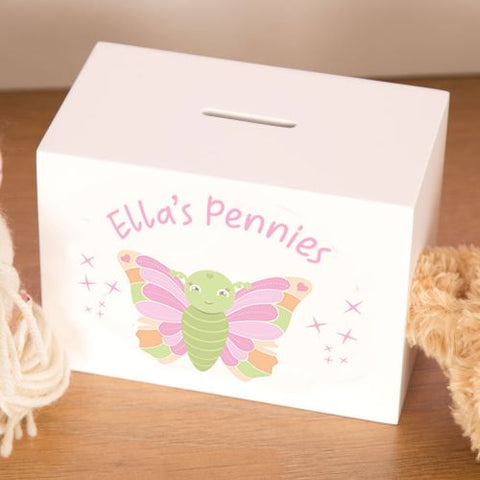 Personalised Wooden Money Box for a Girl with Butterfly Design