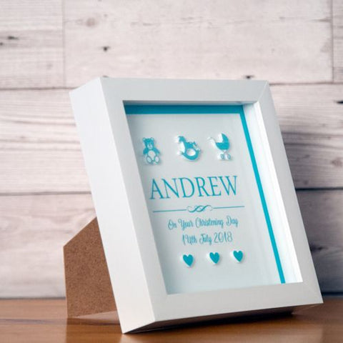 Personalised 3D Christening Box Frame for a Baby Boy