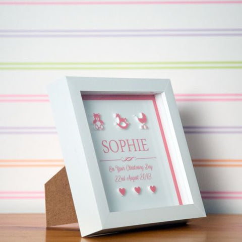 Personalised 3D Christening Box Frame for a Baby Girl