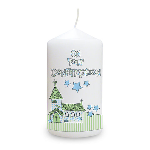 Blue Confirmation Church Candle | ShaneToddGifts.co.uk
