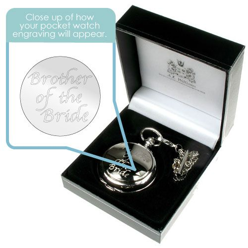 Engraved brother of the bride pocket watch