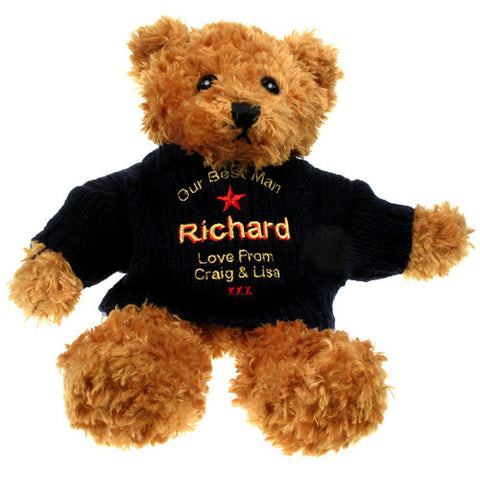 Personalised Best Man Brown Teddy Bear