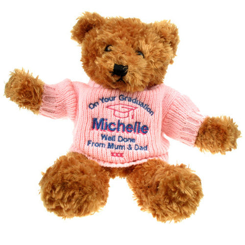 Brown Graduation Teddy Bear: Pink Jumper | ShaneToddGifts.co.uk