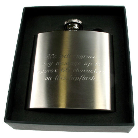 18th Birthday Engraved Brushed Steel Hip Flask - Shane Todd Gifts UK