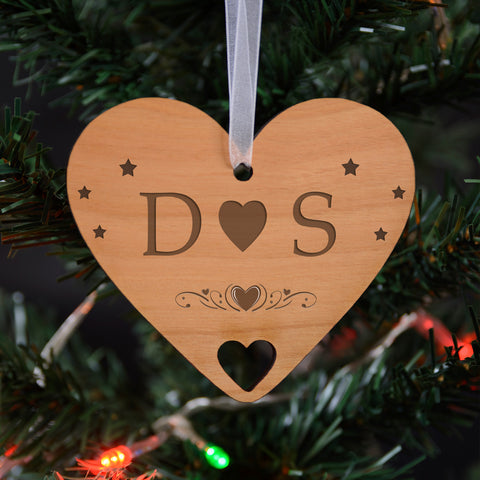 Wooden Hanging Decoration - Initials | Gifts24-7.co.uk