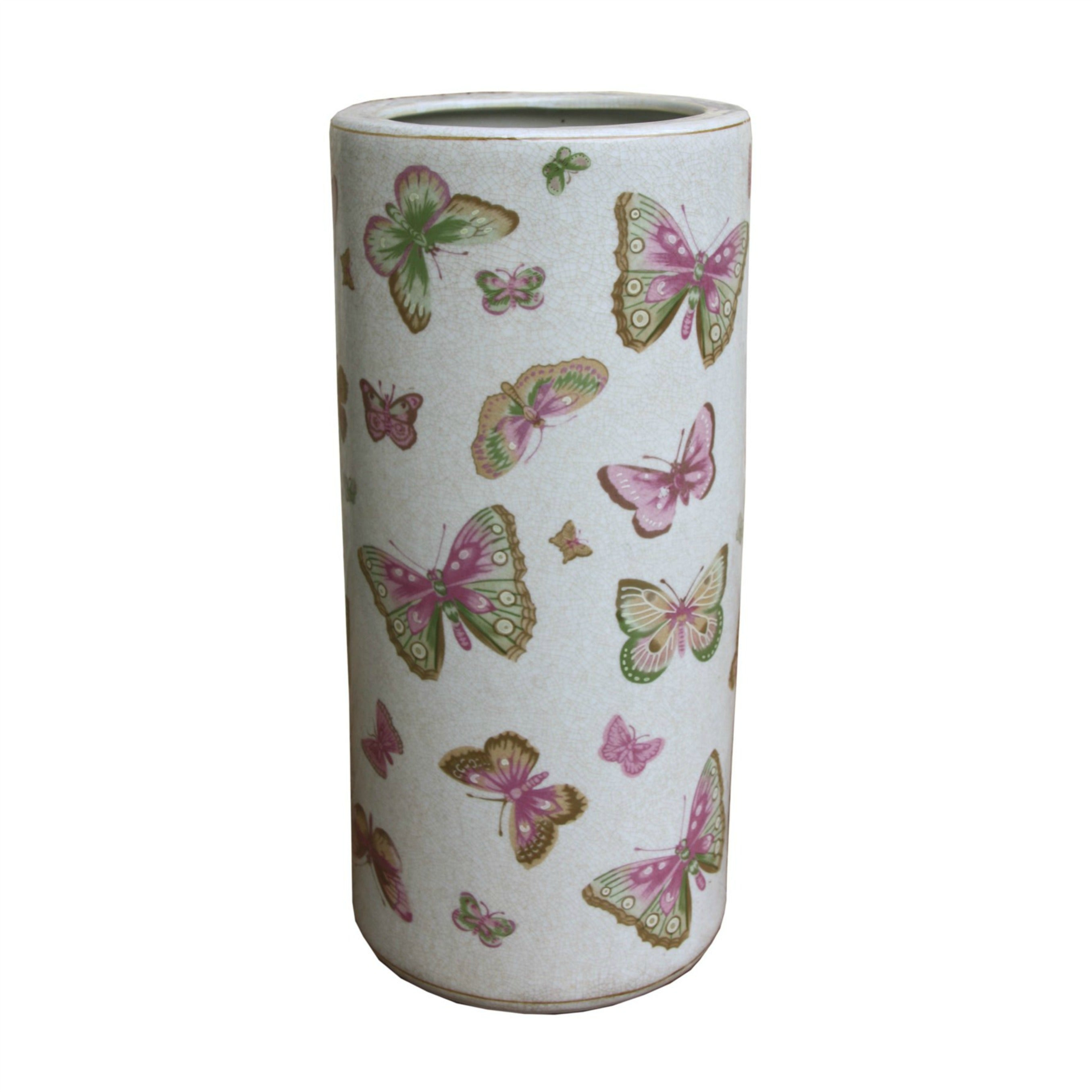 Ceramic Umbrella Stand, Butterfly Design, Parasols & Rain Umbrellas by Low Cost Gifts