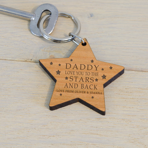 Wooden Key Ring - LOVE YOU TO THE STARS AND BACK