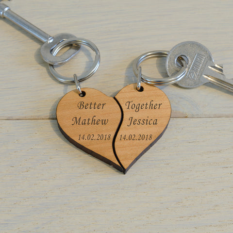 Wooden Key Ring - Better Together | Gifts24-7.co.uk