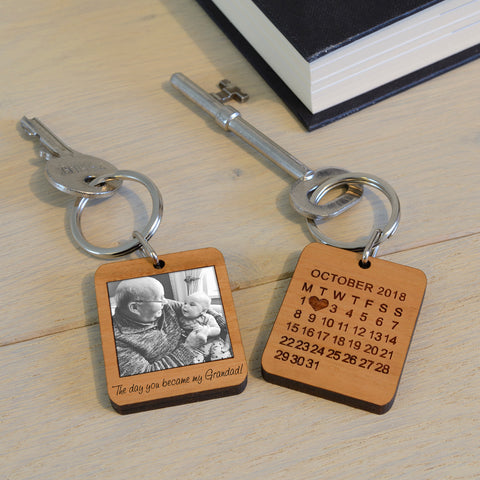 Wooden Key Ring - The day you became my ...