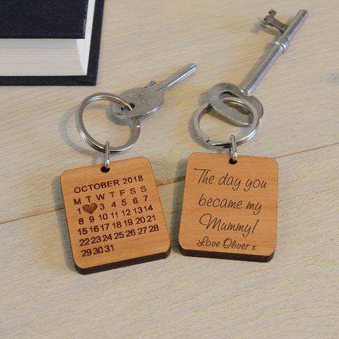Wooden Key Ring - The day you became my Mummy! | Gifts24-7.co.uk