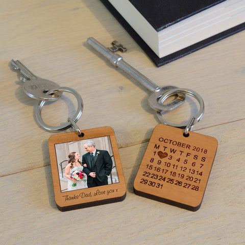 Wooden Key Ring - Special Date Polaroid Style | ShaneToddGifts.co.uk