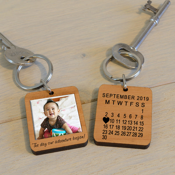 Personalised Wooden Key Ring - The day our adventure began!