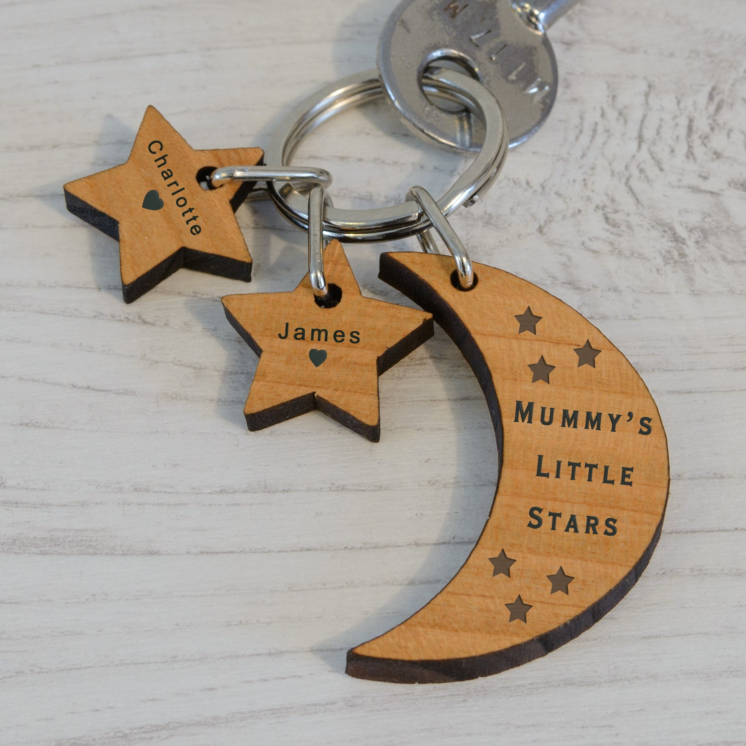 Personalised Wooden Key Ring - LITTLE STARS