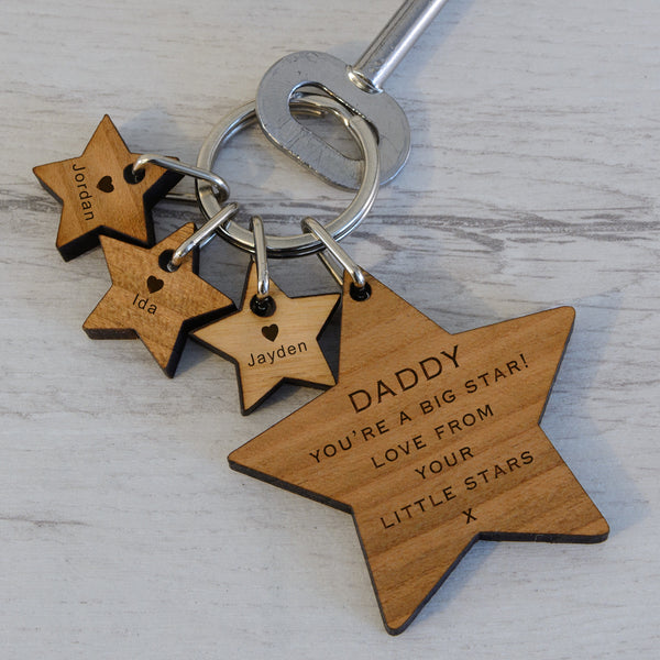 Personalised Wooden Key Ring - .. BIG STAR