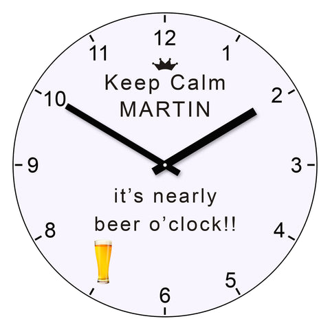 Keep calm it's nearly beer o'clock wall clock - Shane Todd Gifts UK