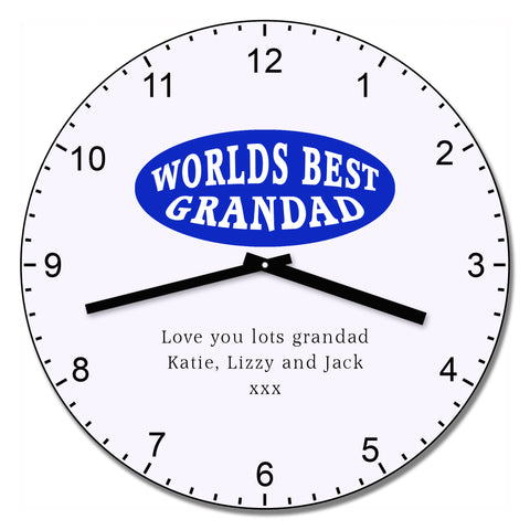 Worlds Best Grandad Wall Clock - Shane Todd Gifts UK
