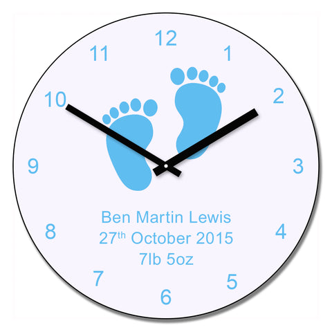 Blue baby feet design wall clock | Gifts24-7.co.uk