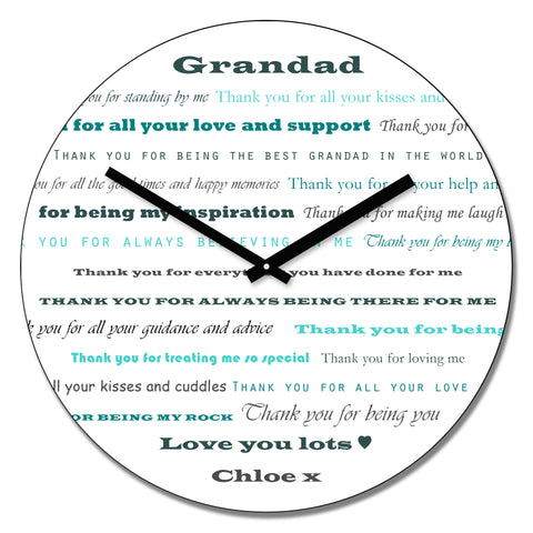 Grandad Thank you's Wall Clock - Shane Todd Gifts UK