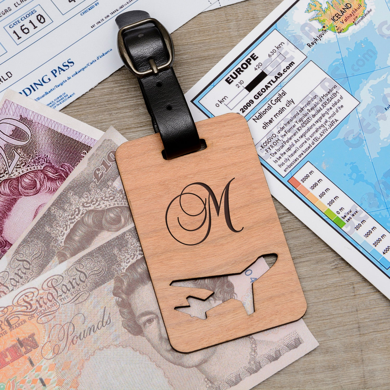Personalised Wooden Luggage Tag - Initial