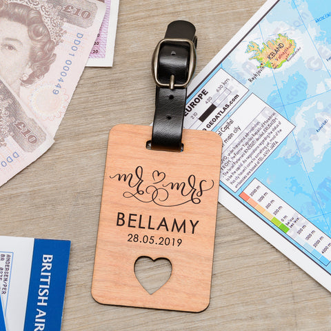 Personalised Wooden Luggage Tag - Mr & Mrs