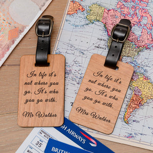 Personalised Pair of Wooden Luggage Tags