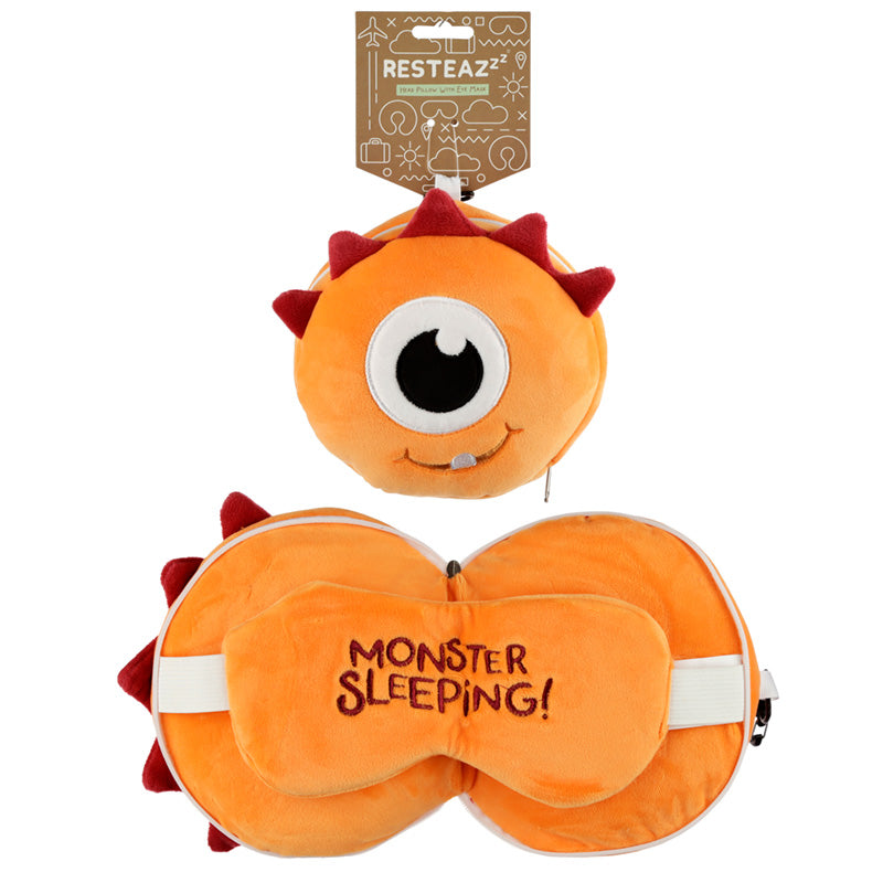 Monstarz Monster Orange Relaxeazzz Plush Round Travel Pillow & Eye Mask Set, Sleeping Aids by Low Cost Gifts