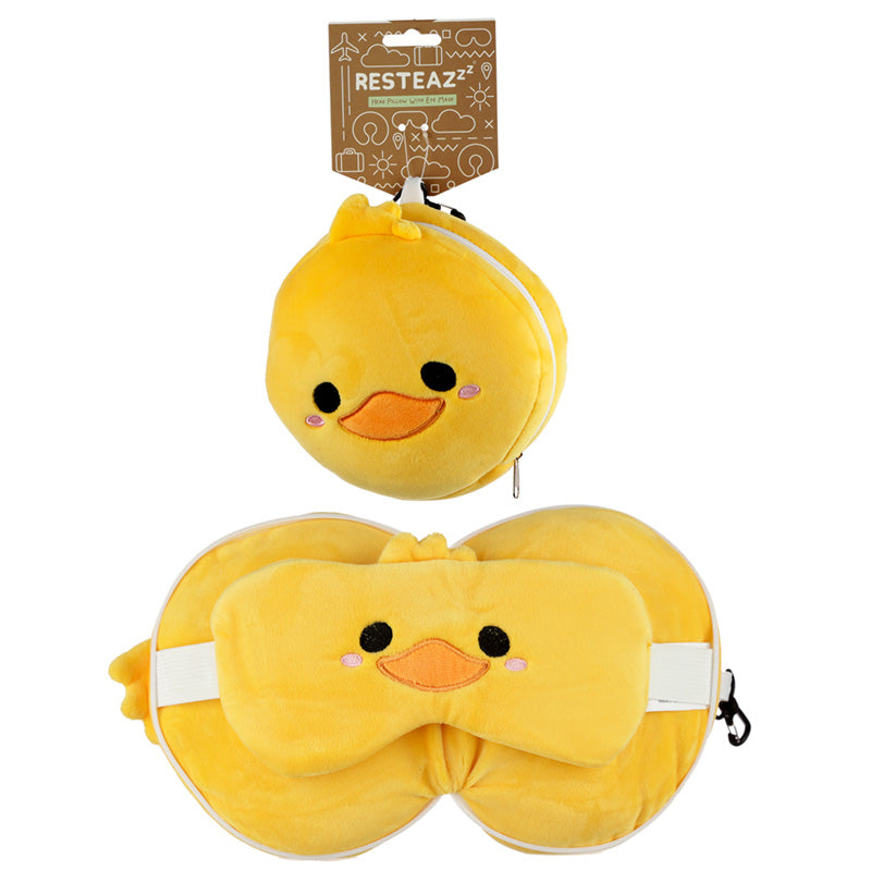 Cutiemals Duck Relaxeazzz Plush Round Travel Pillow & Eye Mask Set, Sleeping Aids by Low Cost Gifts