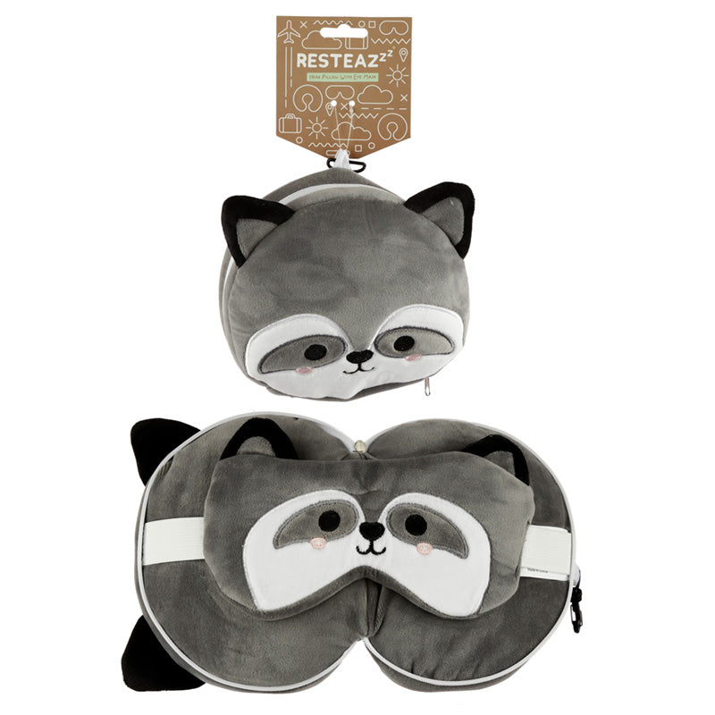 Cutiemals Raccoon Relaxeazzz Plush Round Travel Pillow & Eye Mask Set, Sleeping Aids by Low Cost Gifts
